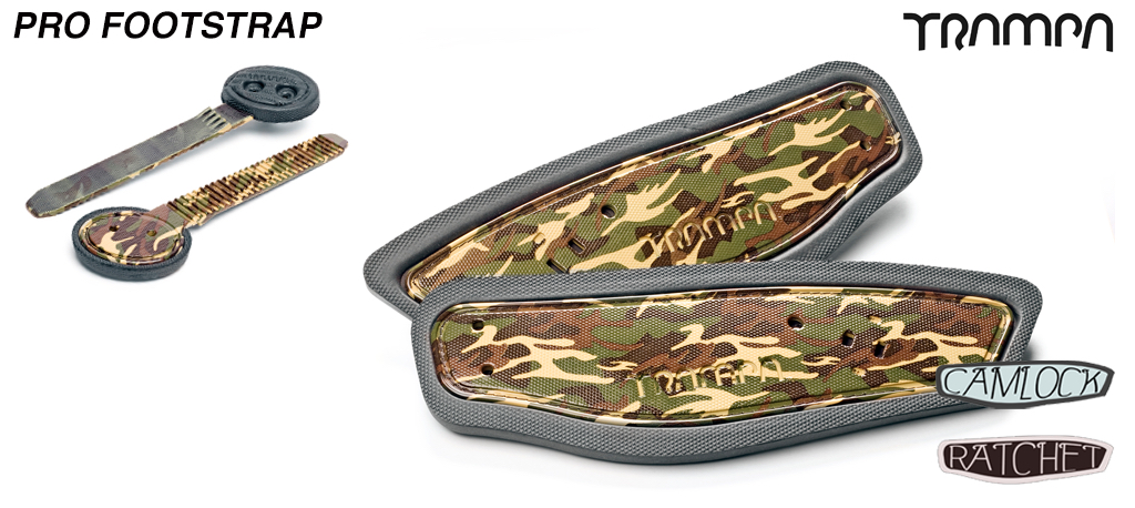 Ratchet Binding Footstrap & Ladder - Army Camo print straps on Black Foam