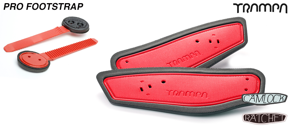 Ratchet Binding Footstrap & Ladder - RED straps on BLACK foam