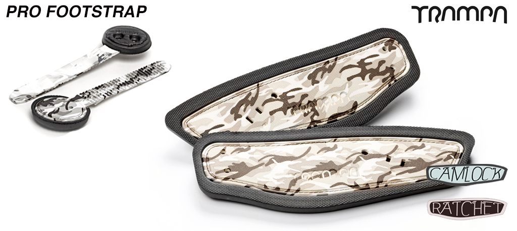 Ratchet footstraps - Winter Camo print straps on Black Foam