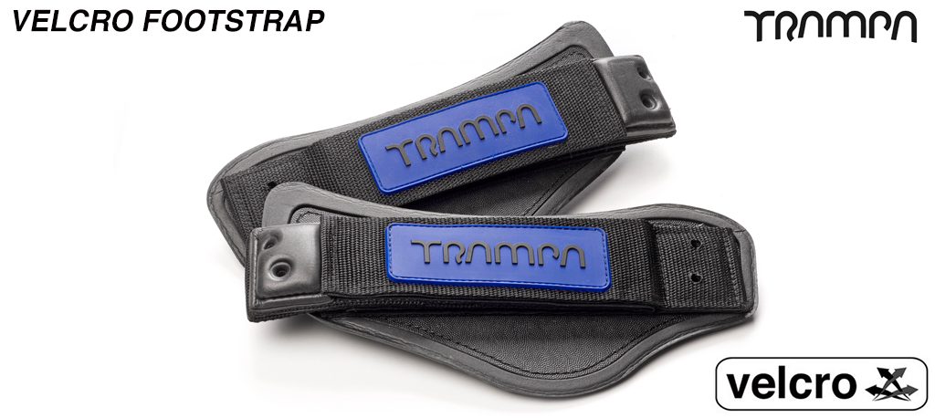 Blue base & Black logo patch Velcro Footstraps