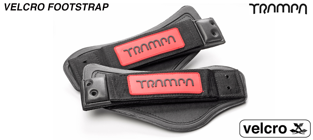 Red base & Black logo patch Velcro Footstraps