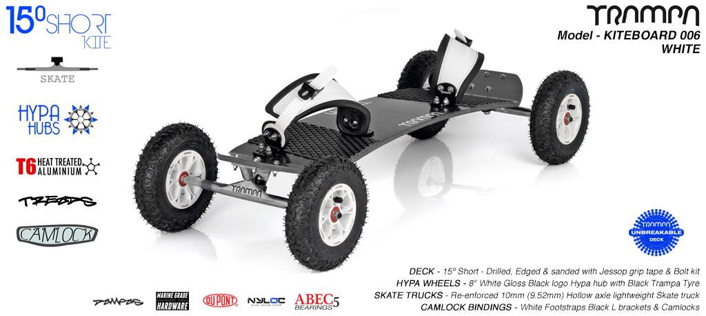 15° Short TRAMPA Deck on 10mm Hollow axle Skate trucks HYPA wheels & CAMLOCK Bindings - 006 BLACK KITEBOARD