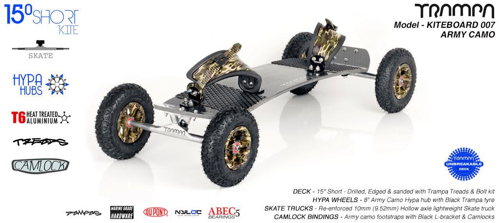 15° Short TRAMPA Deck on 10mm Hollow axle Skate trucks HYPA wheels & CAMLOCK Bindings - 007 ARMY KITEBOARD