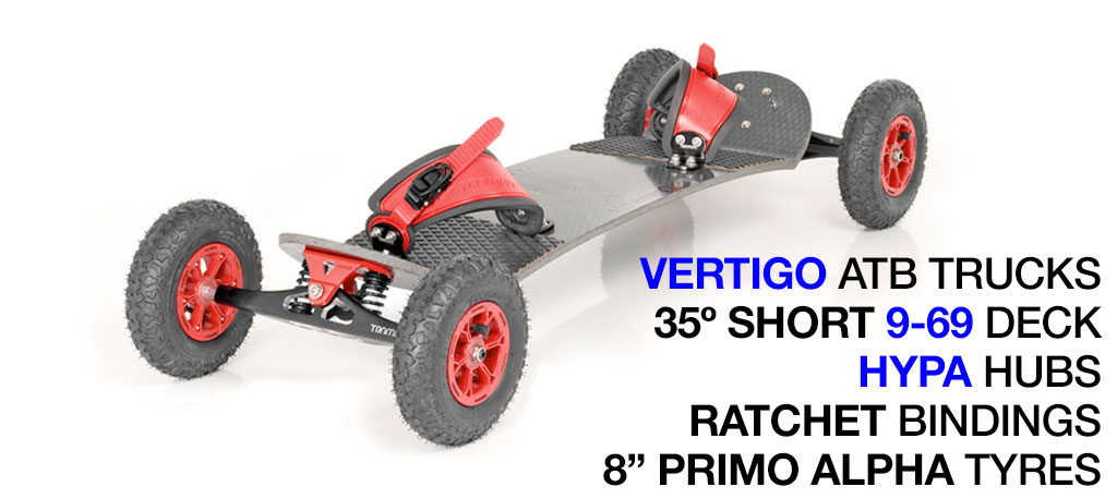 35º Long TRAMPA deck on VERTIGO Trucks HYPA Wheels & RATCHET Bindings - 512 RED MOUNTAINBOARD