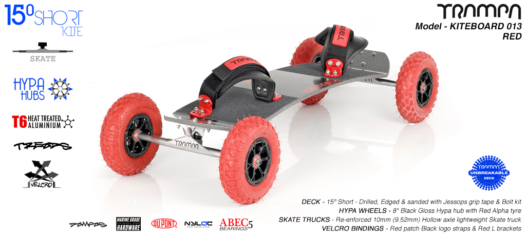 15° Short TRAMPA Deck on 10mm Hollow axle Skate trucks HYPA wheels & VELCRO Bindings -  013 RED KITEBOARD