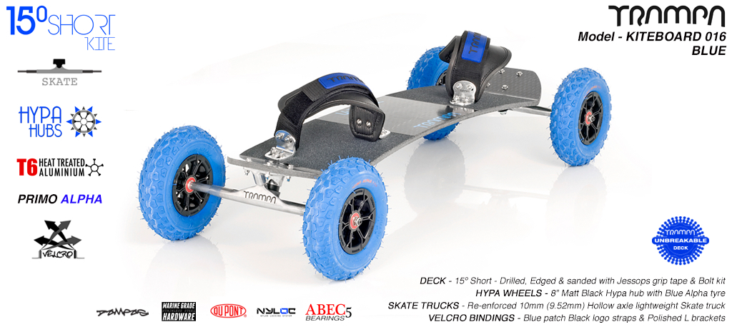 15° Short TRAMPA Deck on 10mm Hollow axle Skate trucks HYPA wheels & VELCRO Bindings -  016 BLUE KITEBOARD