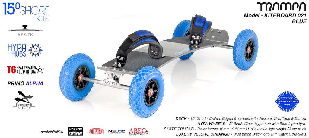 15° Short TRAMPA Deck on 10mm Hollow axle Skate trucks HYPA wheels & LUXURY VELCRO Bindings - 021 BLUE KITEBOARD
