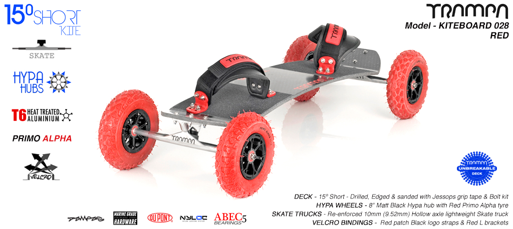 15° Short TRAMPA Deck on 10mm Hollow axle Skate trucks HYPA wheels & VELCRO Bindings - 028 RED KITEBOARD