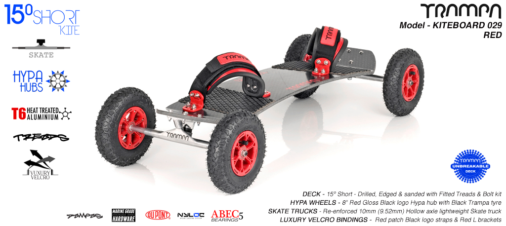 15° Short TRAMPA Deck on 10mm Hollow axle Skate trucks HYPA wheels & LUXURY VELCRO Bindings - 029 RED KITEBOARD