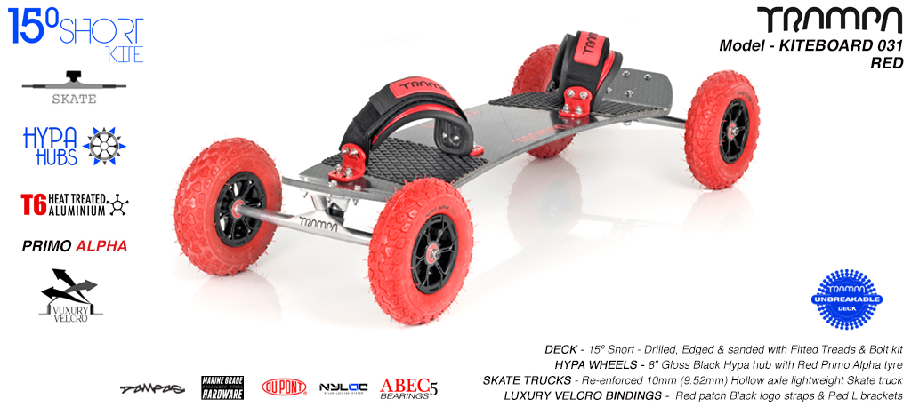 15° Short TRAMPA Deck on 10mm Hollow axle Skate trucks HYPA wheels & LUXURY VELCRO Bindings - 031 RED KITEBOARD