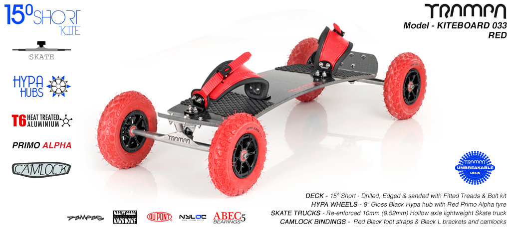 15° Short TRAMPA Deck on 10mm Hollow axle Skate trucks HYPA wheels & VELCRO Bindings - 033 RED KITEBOARD