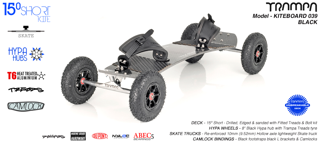 15° Short TRAMPA Deck on 10mm Hollow axle Skate trucks HYPA wheels & CAMLOCK Bindings - 039 BLACK KITEBOARD