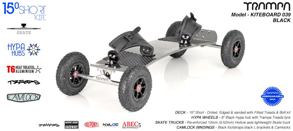15° Short TRAMPA Deck on 10mm Hollow axle Skate trucks HYPA wheels & CAMLOCK Bindings - 039 BLACK KITEBOARD