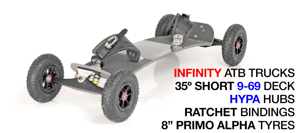 35º Short TRAMPA deck on INFINITY Trucks with HYPA Wheels & RATCHET Bindings - 575 SILVER MOUNTAINBOARD