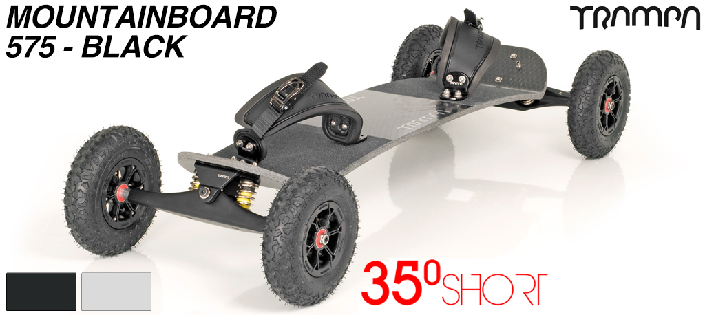 35º Short TRAMPA deck on INFINITY Trucks with HYPA Wheels & RATCHET Bindings - 575 BLACK MOUNTAINBOARD