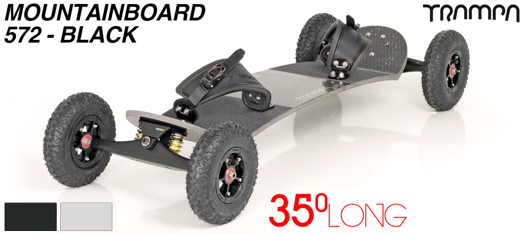 35º Long TRAMPA deck on INFINITY Trucks with SUPERSTAR Wheels & RATCHET bindings - 572 BLACK MOUNTAINBOARD