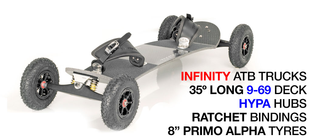 35º Long TRAMPA deck on INFINITY Trucks with HYPA Wheels & RATCHET Bindings - 578 SILVER MOUNTAINBOARD