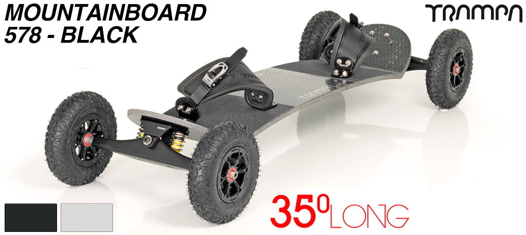 35º Long TRAMPA deck on INFINITY Trucks with HYPA Wheels & RATCHET Bindings - 578 BLACK MOUNTAINBOARD