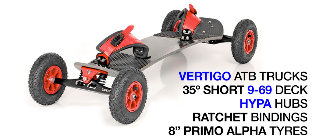 35º Short TRAMPA deck on VERTIGO Trucks with HYPA Wheels & RATCHET Bindings - 526 RED MOUNTAINBOARD