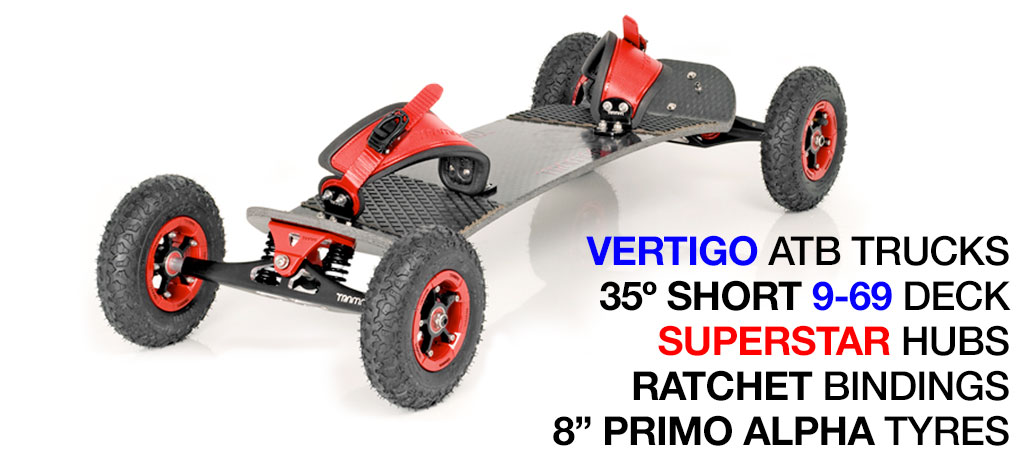 35º Short TRAMPA deck on VERTIGO Trucks SUPERSTAR Wheels & RATCHET Bindings - 527 RED MOUNTAINBOARD