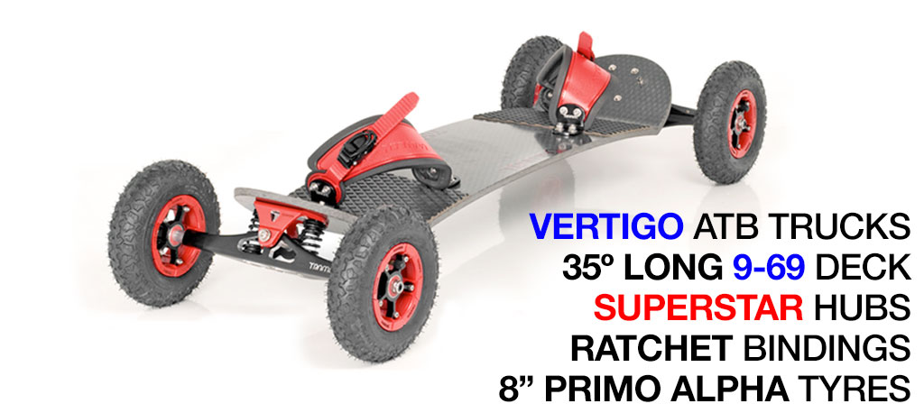 35º Long TRAMPA deck on VERTIGO Trucks with SUPERSTAR Wheels & RATCHET Bindings - 528 RED MOUNTAINBOARD