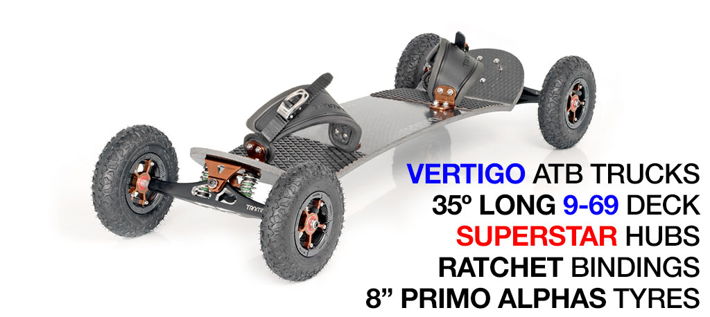 Mountainboard - 35� Long deck on VERTIGO trucks with 8 inch SUPERSTAR wheels & RATCHET Bindings - BRONZE