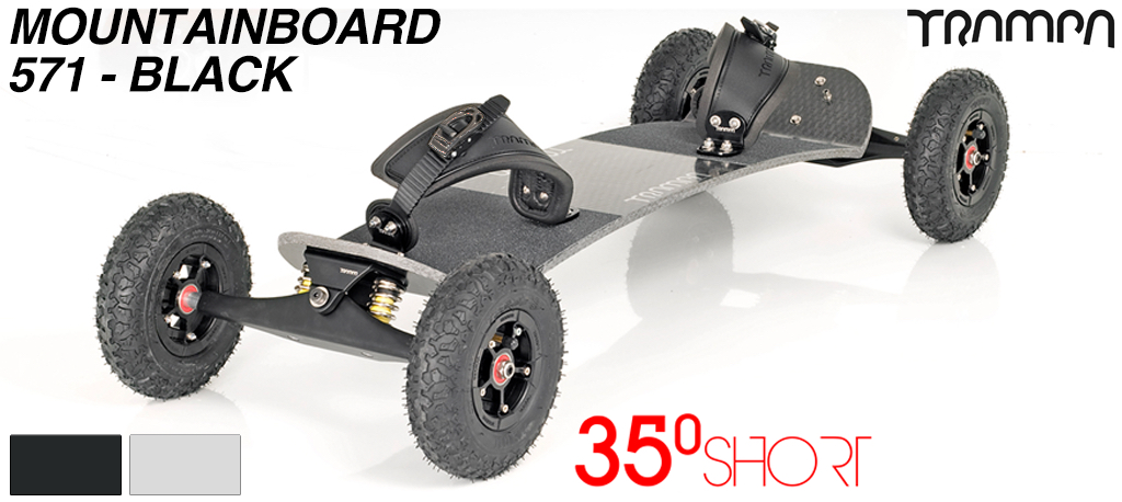 35º Short TRAMPA deck on INFINITY Trucks with SUPERSTAR Wheels & RATCHET Bindings - 571 BLACK MOUNTAINBOARD