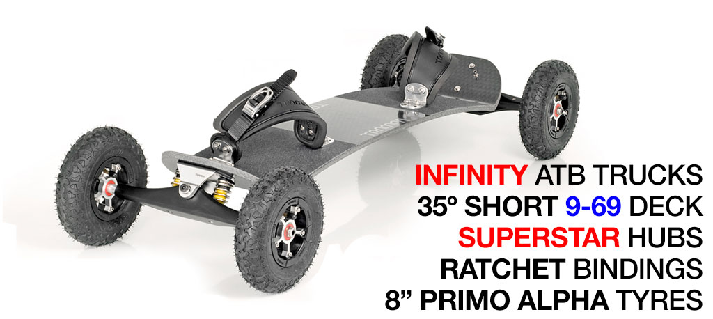 35º Short TRAMPA deck on INFINITY Trucks with SUPERSTAR Wheels & RATCHET Bindings - 571 SILVER MOUNTAINBOARD