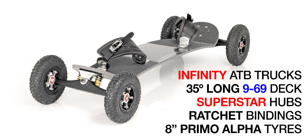 35º Long TRAMPA deck on INFINITY Trucks with SUPERSTAR Wheels & RATCHET Bindings - 572 SILVER MOUNTAINBOARD